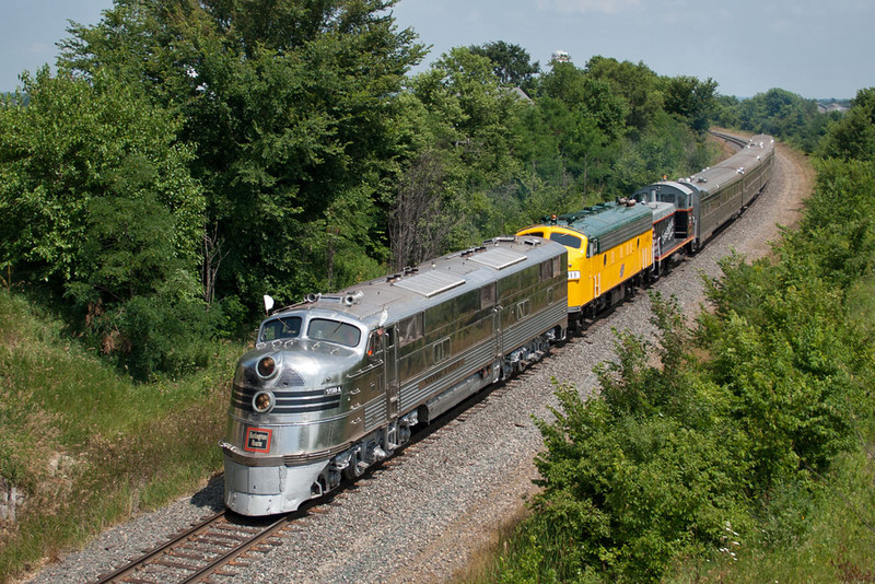 The Nebraska Zephyr hits the high iron and heads west out of Davis Junction, IL.