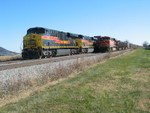 Coal train's pusher passes the wb at the west end of Walcott siding, Nov. 5, 2010.