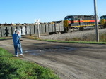 Visiting railfan from Arizona shoots the EB, Oct. 9, 2007.