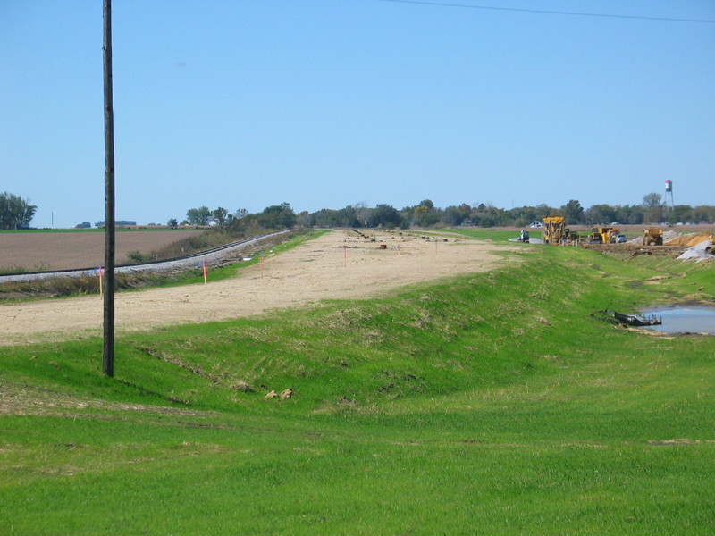Grading work has been done for the new yard; Menlo is in the distance.