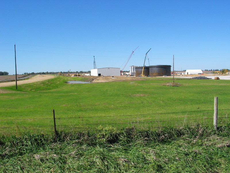 Looking west at the new ethanol plant under construction east of Menlo.  IAIS's main is at the far left.  Oct. 9, 2007.