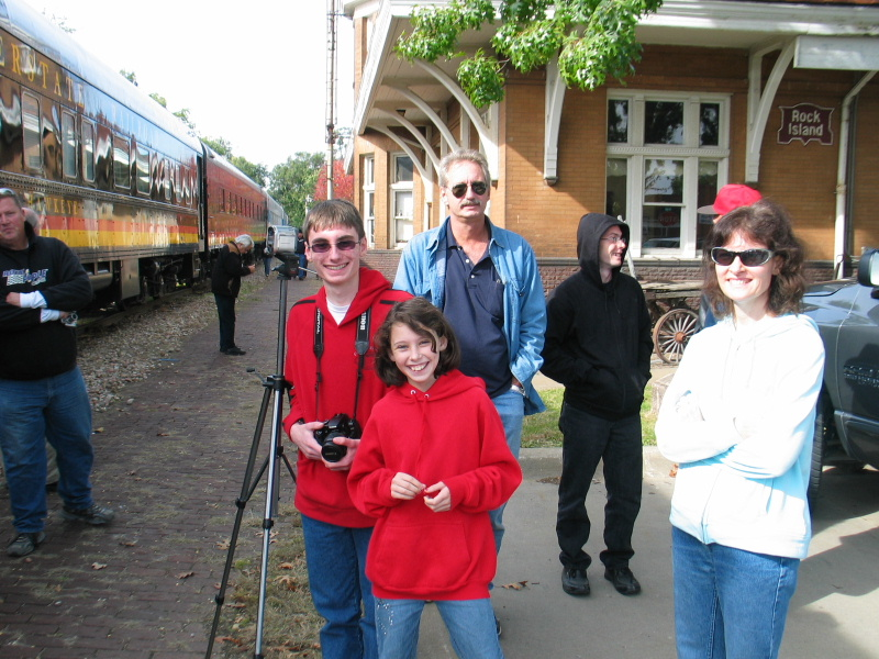 Trainboy Alex and the fam. at Iowa City depot.