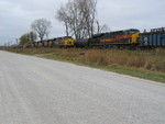 EB passes the turn at the east end of N. Star siding, Oct. 28, 2010.