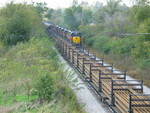 East train pulls up N. Star siding, past the rail train on the main.  Oct. 5, 2007.