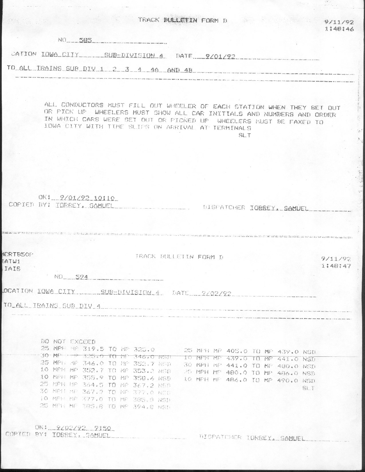 Track Bulletin (fax) 11-sep-1992