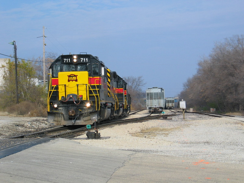 South end of Limit Yard looking north.  The Rocket's return train is on the yard tracks at right.  Nov. 17,2006.
