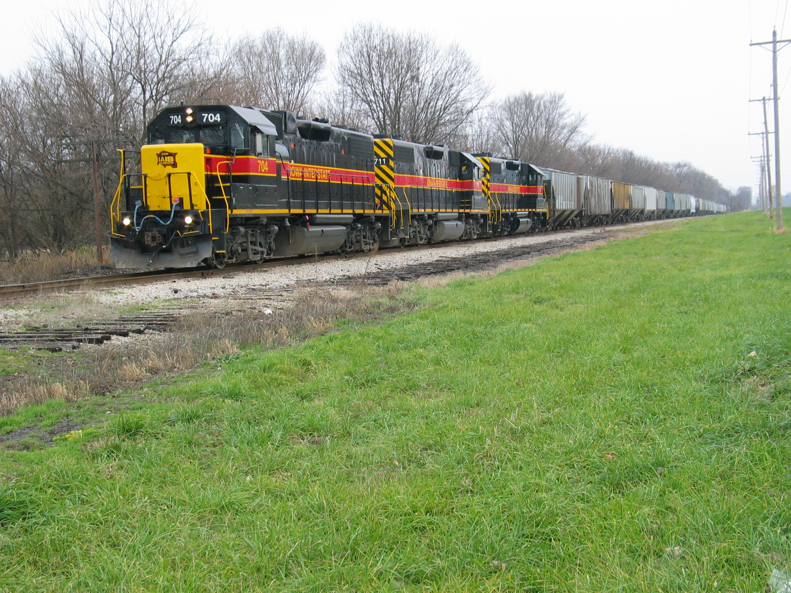 Northbound Peoria Rocket, north of Peoria at the old RI location known as Sankoty.  The remains of the old siding are visible in the foreground.  Nov. 17, 2006.
