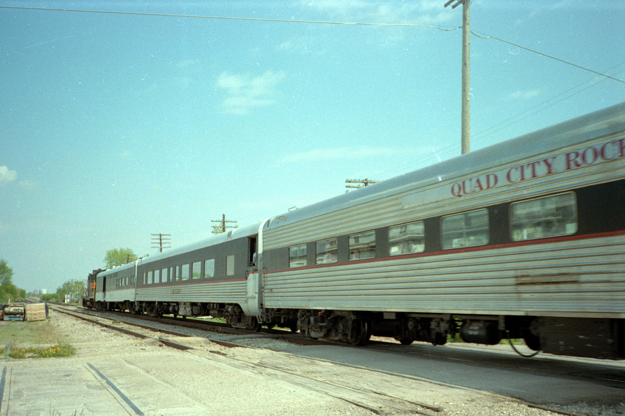 One of the Sunday runs eastbound at Walcott, IA, with 468 on the front