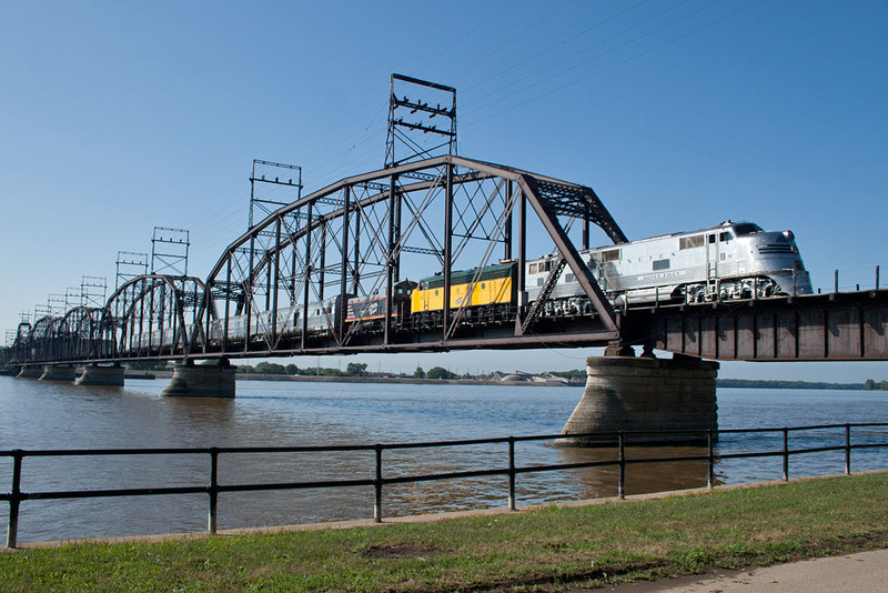 The Nebraska Zephyr crosses the Crescent Bridge into Davenport, IA.