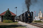 After a service stop and meet with BICB at North Star, the QJ's get back underway at Wilton, IA.