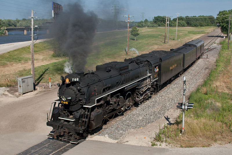 After cutting off her cars at Rock Island yard, NKP 765 creeps towards downtown Rock Island.