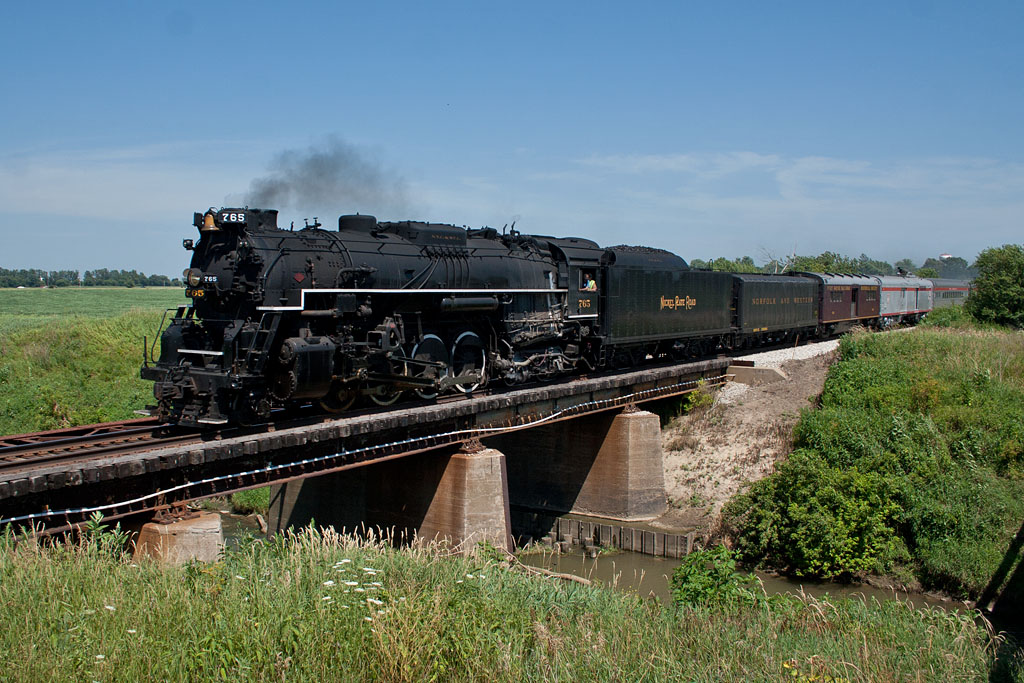 NKP 765 crosses the creek west of Annawan, IL.
