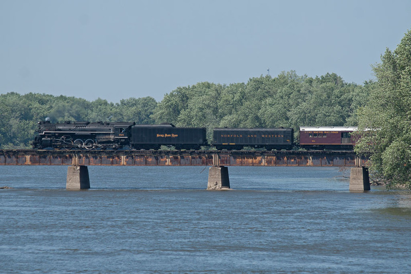 NKP 765 crosses the Rock River west of Colona, IL.