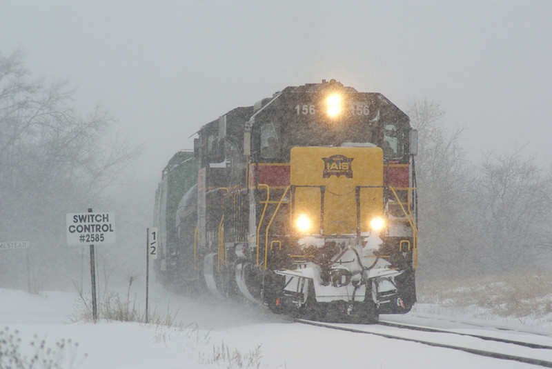 156 on a snowy morning.