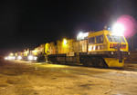"Loram's ""RG301"" railgrinder lays over for the night near the Centennial Bridge on the Milan Branch in Rock Island, IL on 05-Feb-06."