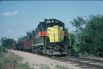 Wilton local heads east at mp212.5, by Hinkeyville, Sept. '89.