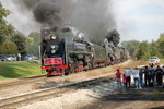 QJs and MILW 261 leave Bureau - now we're even importing our steam locos from China.....