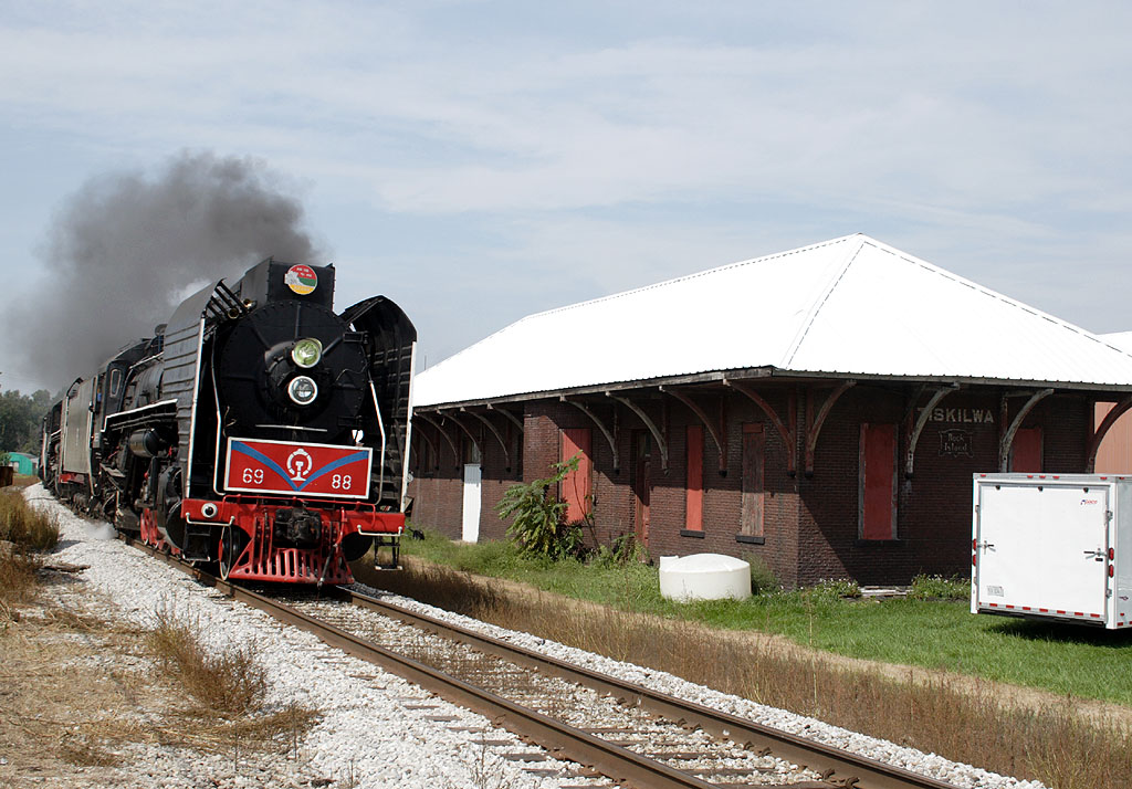 Eastbound by the old Rock Island depot at Tiskilwa, IL.