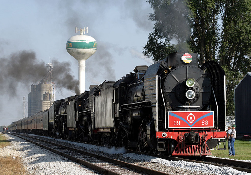 The westbound excursion pulls into Atkinson, IL for a station stop.