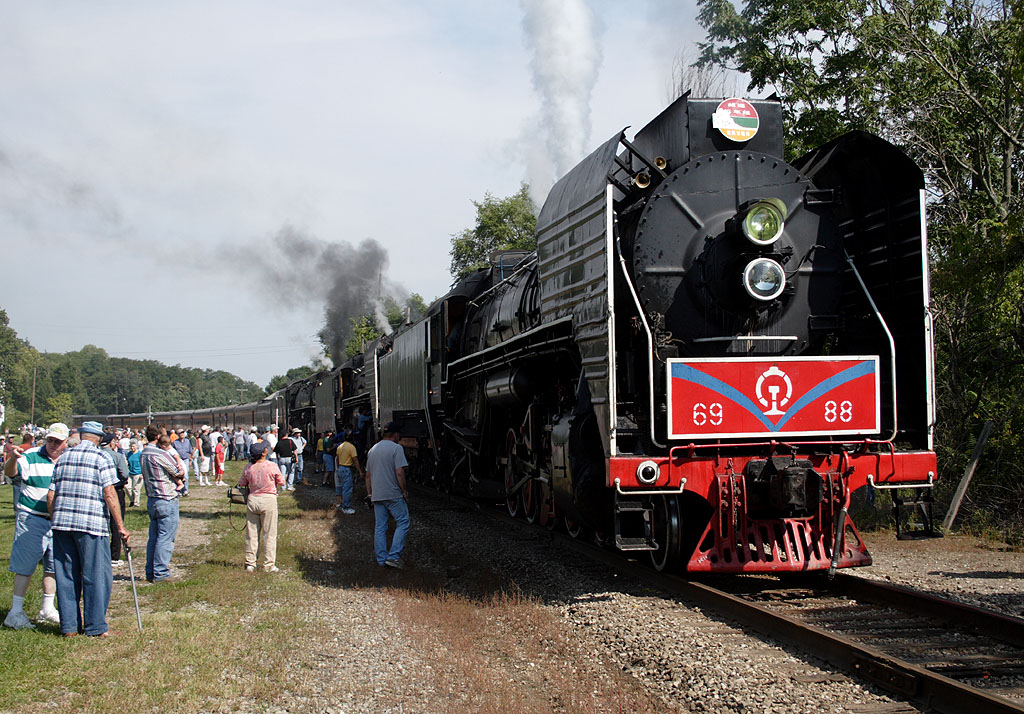 The excursion pauses on the mainline at Bureau, IL for water.