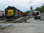 The Newton crew is setting the rear 3 700s onto their outbound train on 2 track.