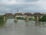 CR Job's power on the Iowa River Bridge.  I haven't seen these 4 together for quite a while.