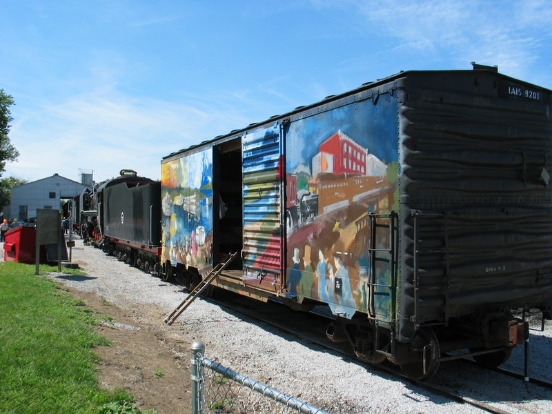 Mural boxcar and steam engines in Iowa City, Aug. 16, 2006.