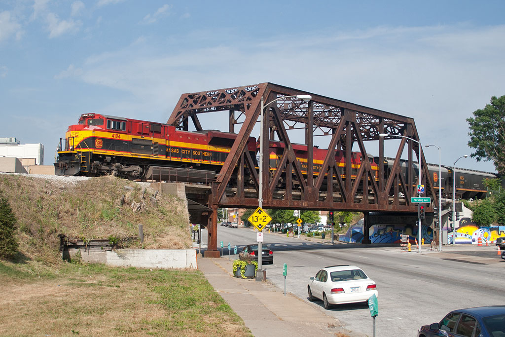 KCS 4124 crosses the 4th Street bridge in Davenport, IA.