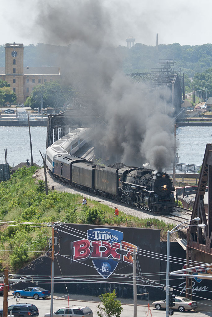 NKP 765 handles the 11am Walcott run as seen from a rooftop in Davenport, IA.