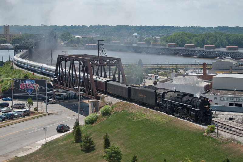 NKP 765 heads west with the 11am run to Walcott through Davenport, IA.