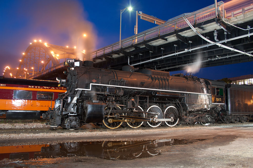 NKP 765 in Rock Island, IL during the night photo shoot.