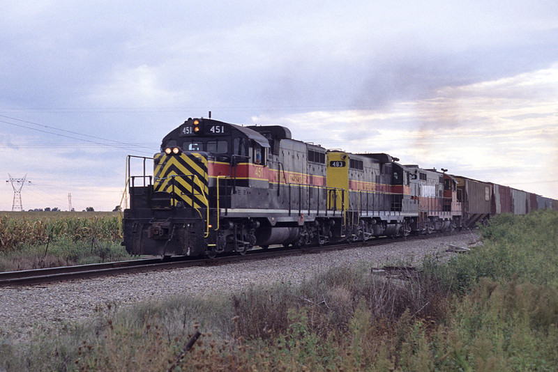 #451 with an eastbound manifest at Probstei, Iowa September 5th, 1991.