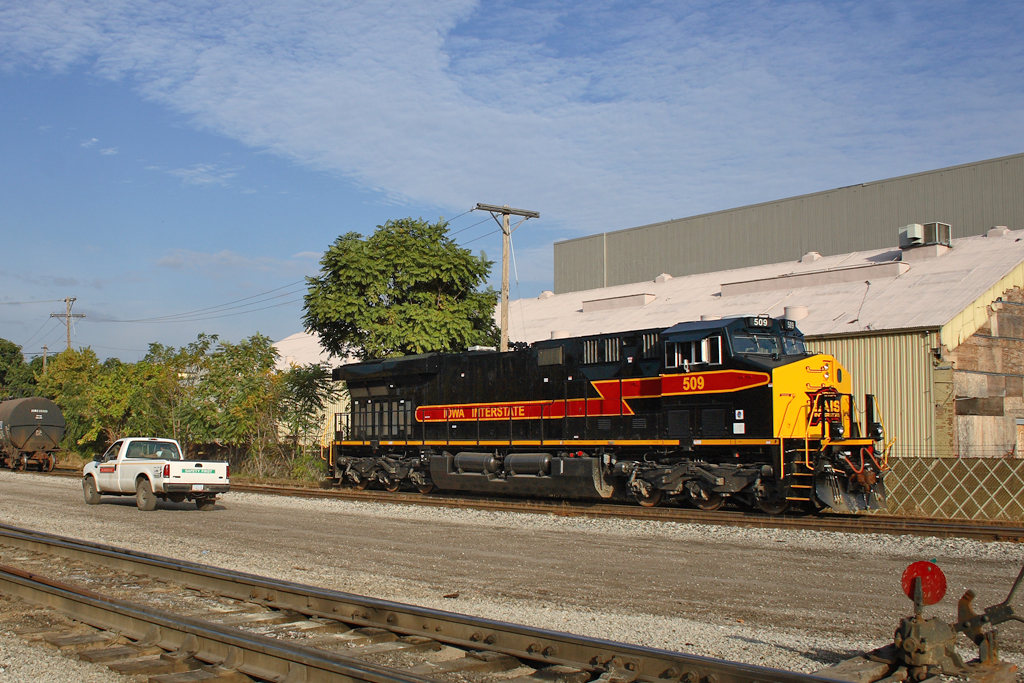 After leading an inbound ICRI train into Rock Island, Illinois, the #509 is seen here shuffling back to the west end of RI Yard on the BN main. The #507 that DPU'd on this train will double up with #509 for the return train to Iowa City. 10/12/08