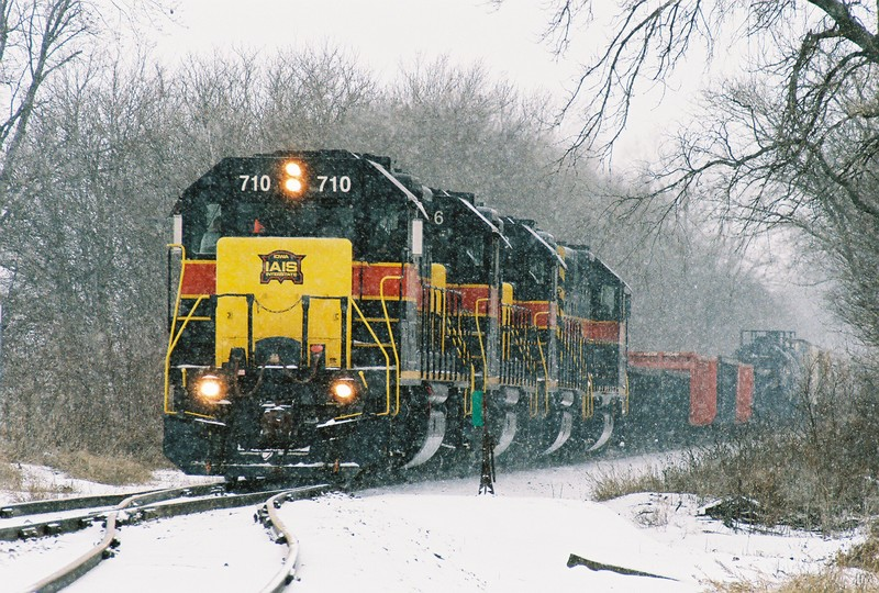 710 0n the point of the CBBI approaching the Downey, Iowa siding on a snowy January 2008 morning.