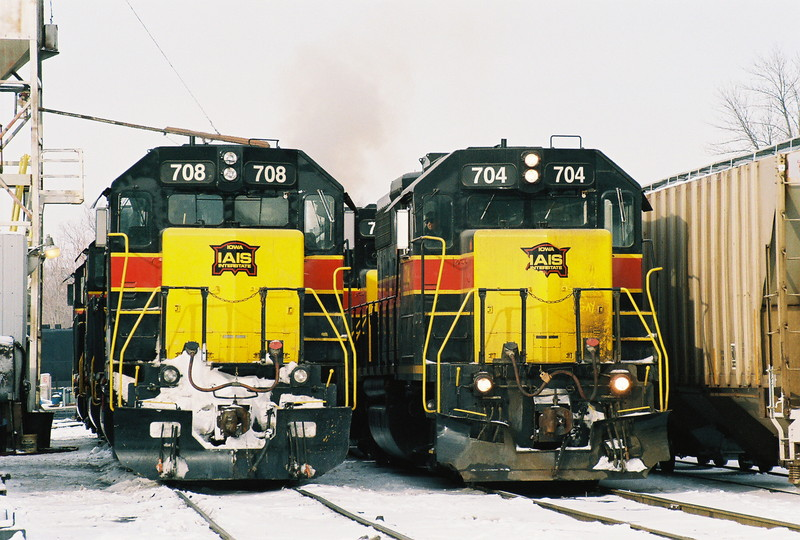 708 and 704 sit on the yard service tracks in Iowa City on January 26, 2008