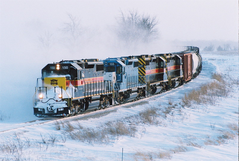 IAIS SD-38-2 #150 leads the ICCR southwest of Walford, Iowa on New Year's Day 2008