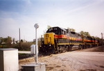 716 west, on its last lap into Council Bluffs, passes the interesting single bell crossing at mp 481.5.  April 2005