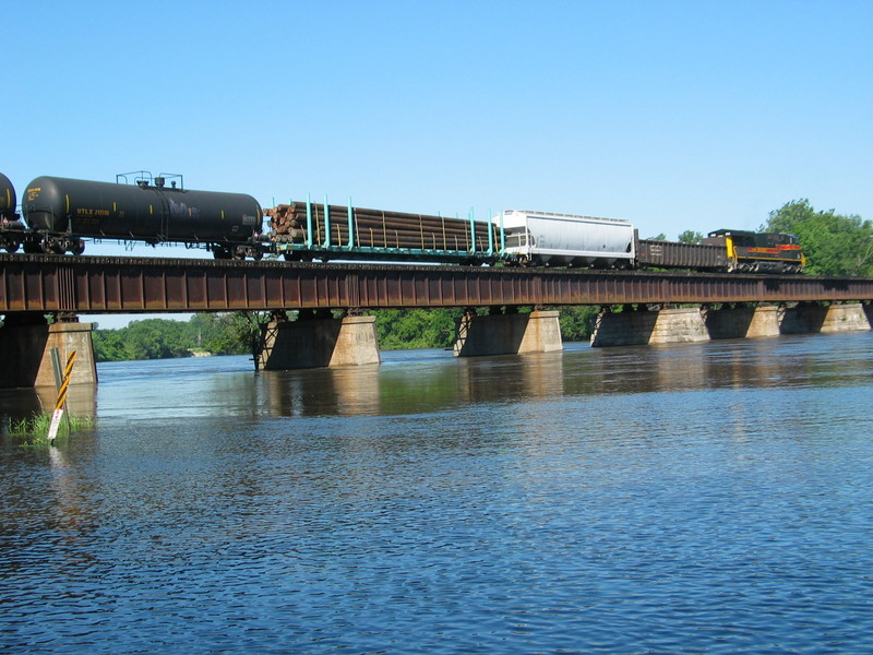 West train on the Cedar River bridge, July 3, 2010.