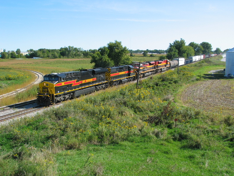 A combined IAIS westbound and KCS detour approach the Wilton overpass, Sept. 15, 2011.