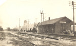 Looking east along the CRI&P main at Walcott, probably in the 1920s or 1930s.  Rudy Bluedorn collection.