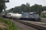 Weed Sprayer heads west through the BNSF connection at Colona, IL on 25-Jun-2007.