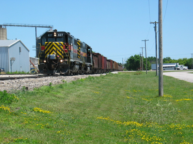 Ballast train in the siding at Anita, June 19, 2006.