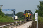 IAIS 413 and the BICB switch the West Liberty intermodal ramp on 9-Aug-2004.  Looking west...