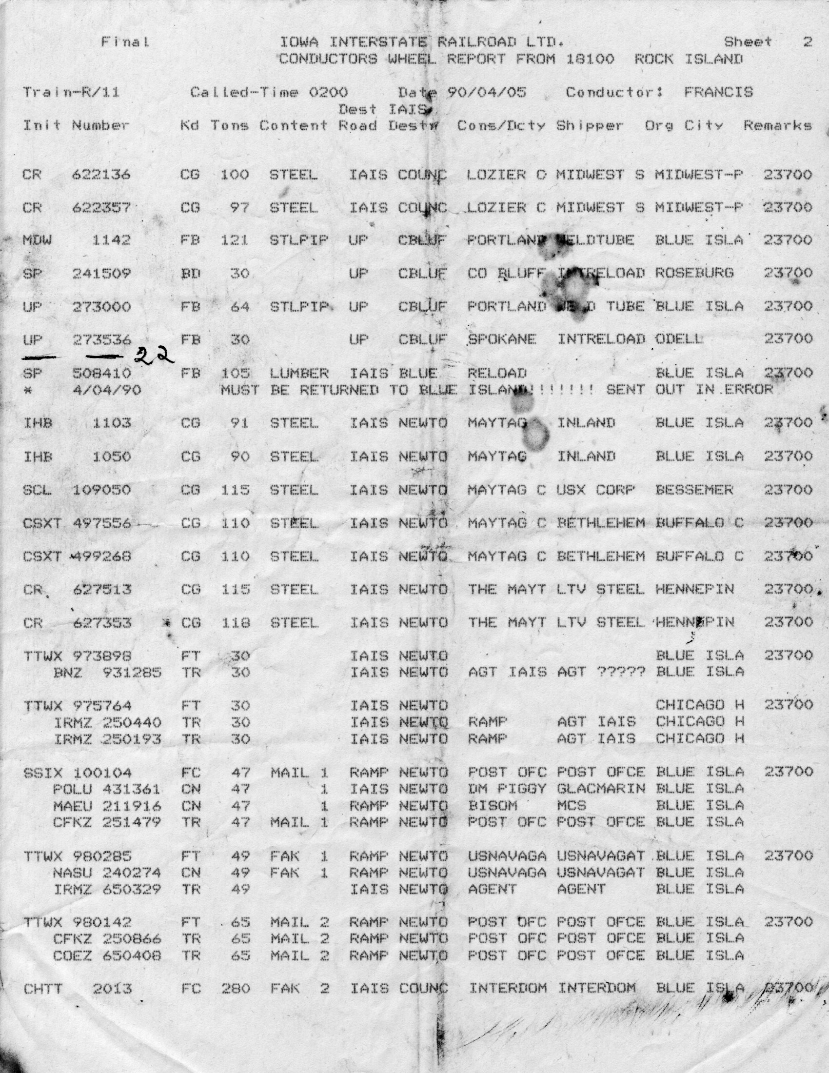 Wheel Report from West Train, 5-Apr-1990, Page 2