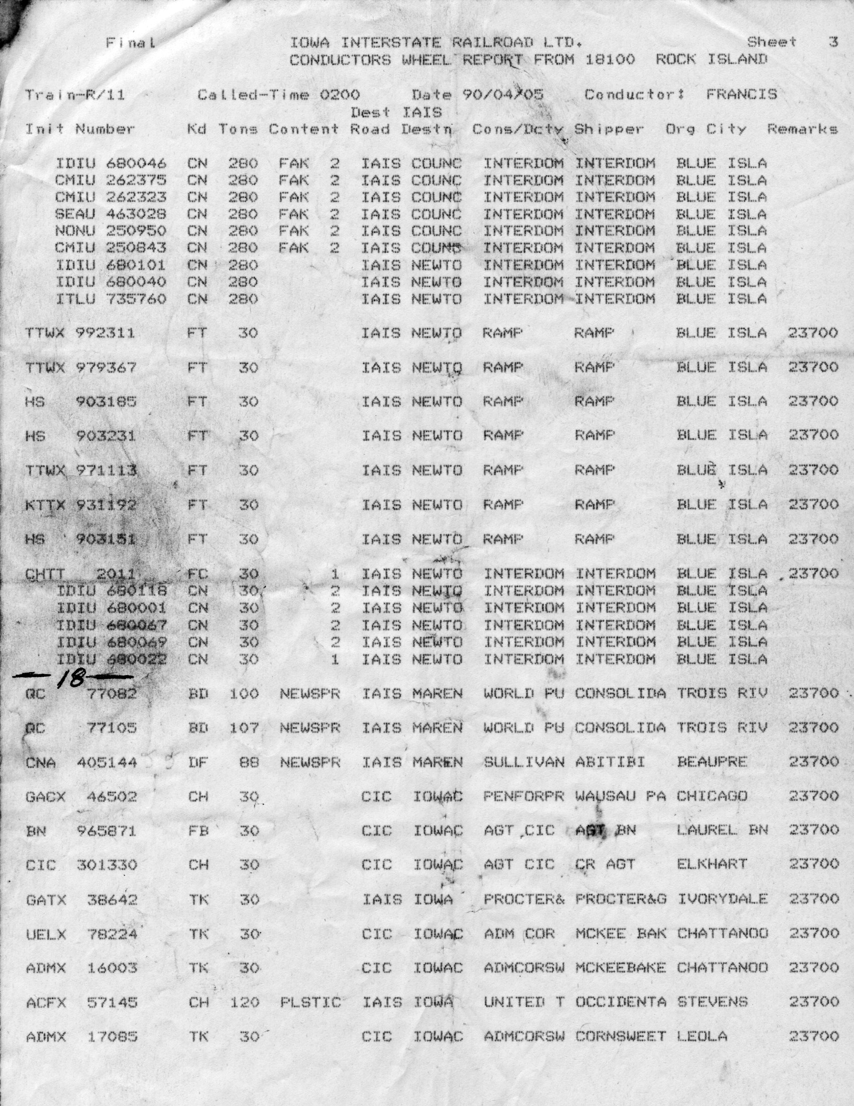 Wheel Report from West Train, 5-Apr-1990, Page 3