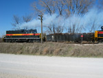 400, on the Wilton Local, lays a smoke screen for the westbound.  Nov. 9, 2005.