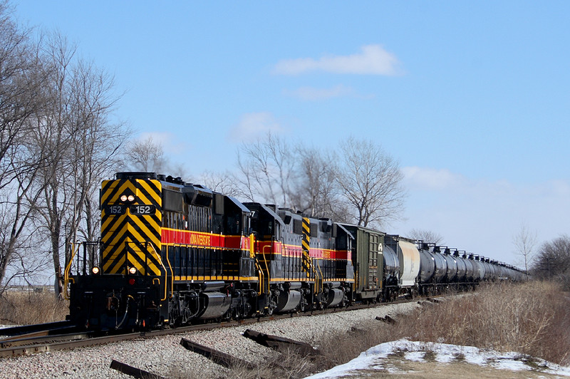 SD-38-2 152 is in charge of a RIIC train at Walcott, Iowa  February 4th, 2007.