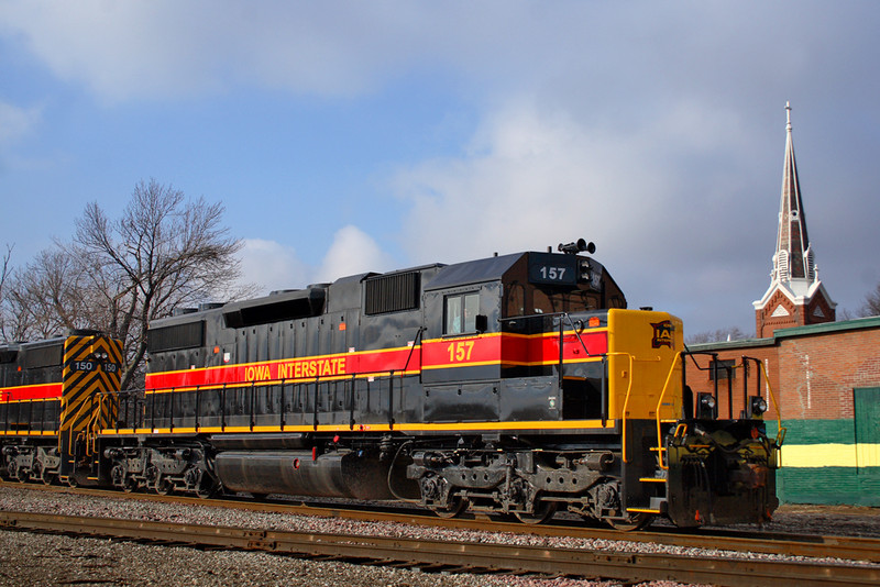 #157 with the CBBI waits for permission into Rock Island yard at the Junction in Davenport, Iowa, January 11th, 2008.