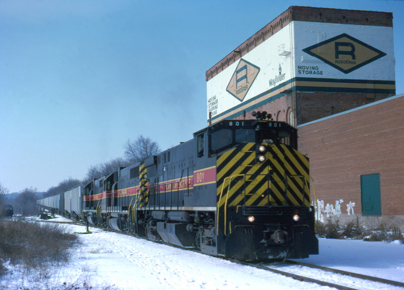 801 heads up an eastbound extra at Davenport, Iowa January 19,1998.