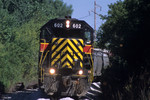 #602 rounds the curve at Farnam, Iowa August 7th, 2002.